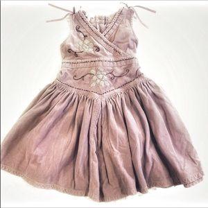 Monsoon boutique corduroy bow girls dress 4-5